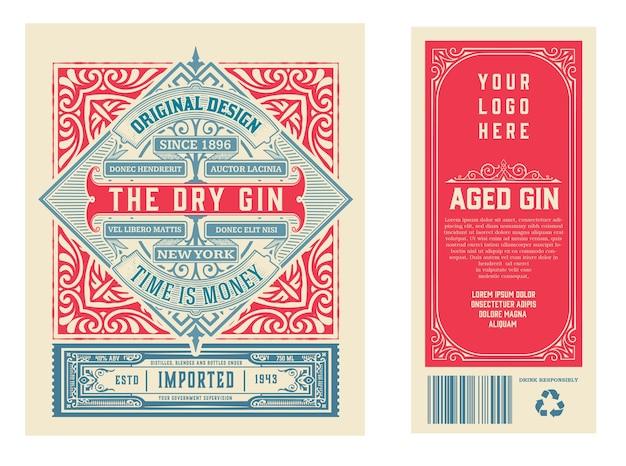 Étiquette Vintage Avec Design De Liqueur De Gin Vecteur Premium