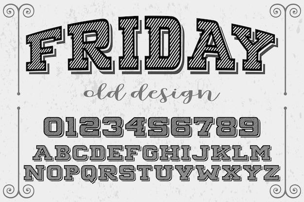 Étiquette vintage lettrage vendredi