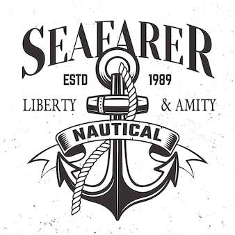 Étiquette vintage de marin, emblème ou impression en illustration de style rétro avec ancre