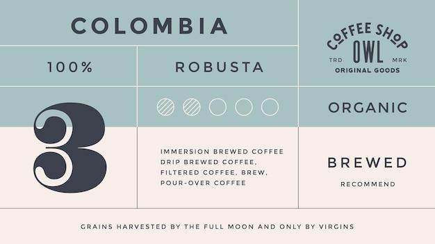 Étiquette vintage moderne typographique, étiquette, autocollant pour marque de café, emballage de café