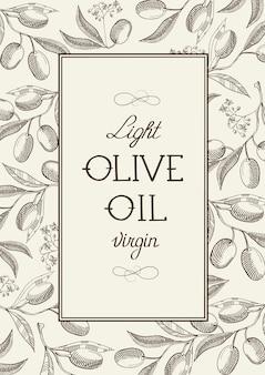 Étiquette vintage d'olive vierge