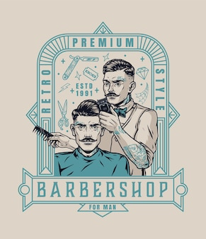 Étiquette vintage de salon de coiffure avec un coiffeur tatoué à la mode tenant un peigne et une tondeuse à cheveux et coupant les cheveux d'un homme moustachu élégant isolé illustration vectorielle