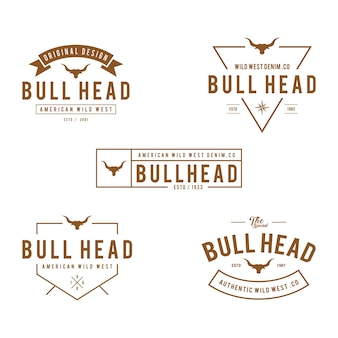 Étiquette vintage avec la silhouette de la tête de taureau, texas wild west theme