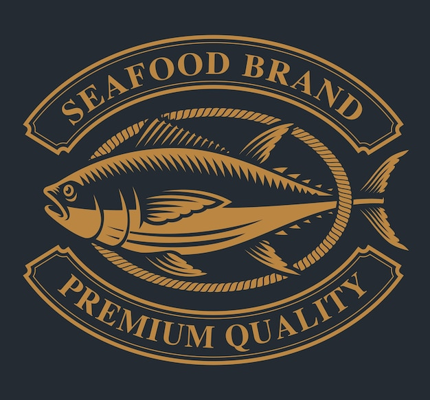 Étiquette vintage avec un thème de thon pour les fruits de mer sur un fond sombre.