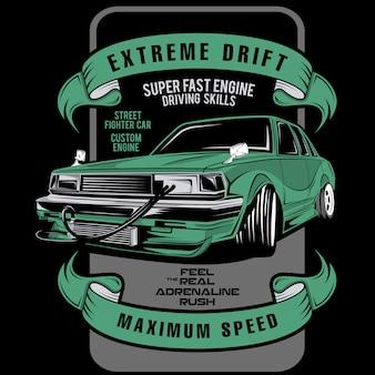 Étiquette de voiture de course