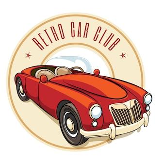 Étiquette de voiture rétro de vecteur avec véhicule vintage