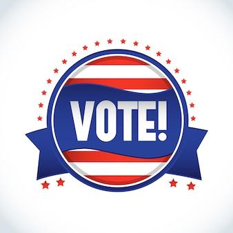 Étiquette de vote pour l'élection présidentielle aux états-unis 2016 en forme de cercle sur fond blanc