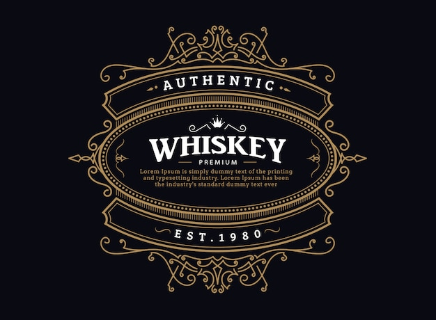 Étiquette de whisky badge vintage design rétro cadre dessiné à la main antique