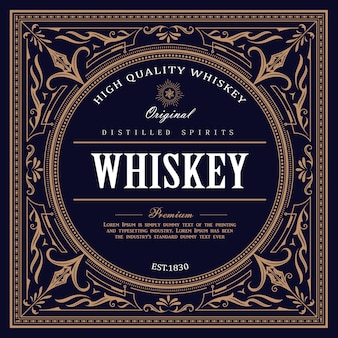 Étiquette de whisky design vintage rétro