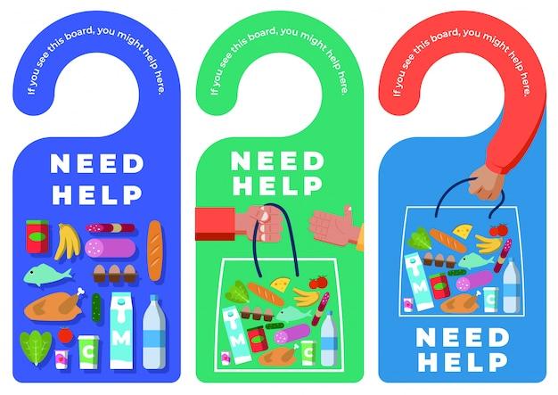 Étiquettes d'accroche de porte avec signal need help - food