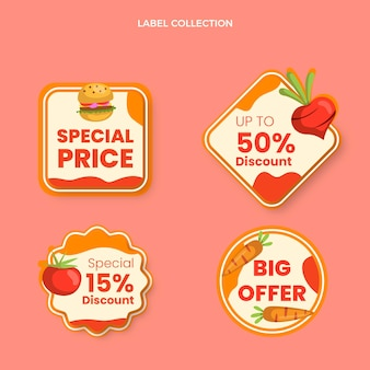 Étiquettes alimentaires design plat avec prix spécial