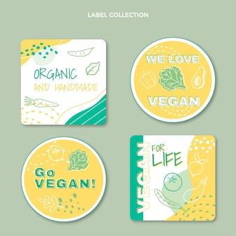 Étiquettes alimentaires végétaliennes design plat