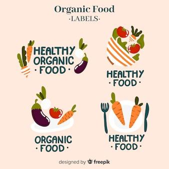 Étiquettes d'aliments biologiques dessinés à la main