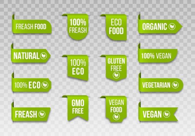 Étiquettes d'aliments biologiques jeu d'icônes végétaliennes logos et badges