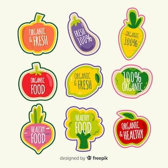Étiquettes d'aliments biologiques plats
