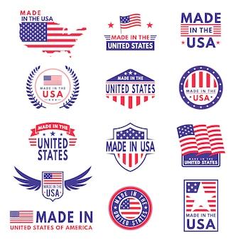 Étiquettes américaines. drapeau fait amérique états américains drapeaux étiquette insigne timbre étoile patriote bande ruban emblème autocollant bannière, icônes