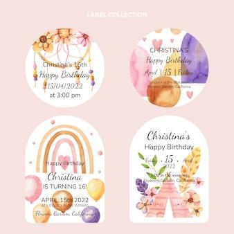 Étiquettes d'anniversaire boho aquarelle