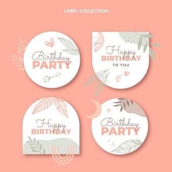 Étiquettes d'anniversaire boho dessinées à la main