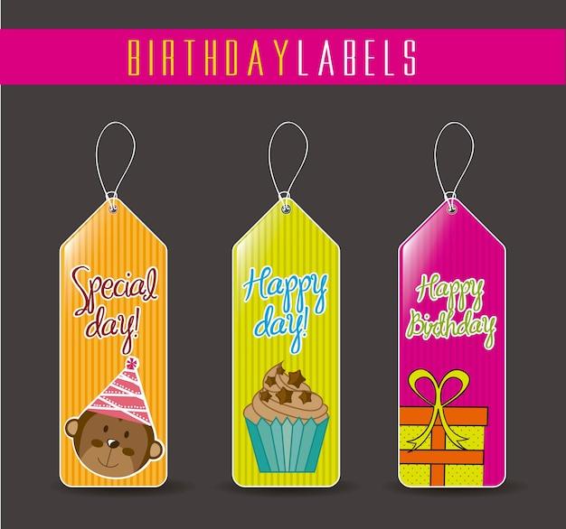 Étiquettes d'anniversaire coloré avec éléments mignons vector illustration