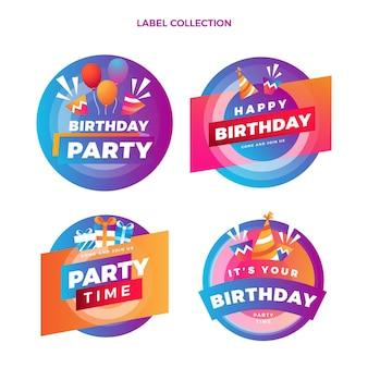 Étiquettes d'anniversaire colorées dégradées