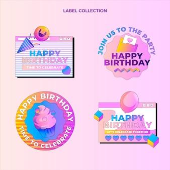 Étiquettes d'anniversaire dégradé rétro vaporwave