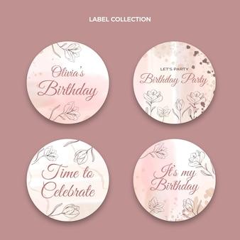 Étiquettes d'anniversaire dessinées à la main à l'aquarelle