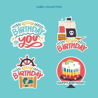 Étiquettes d'anniversaire enfantines dessinées à la main