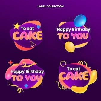 Étiquettes d'anniversaire fluide abstrait dégradé