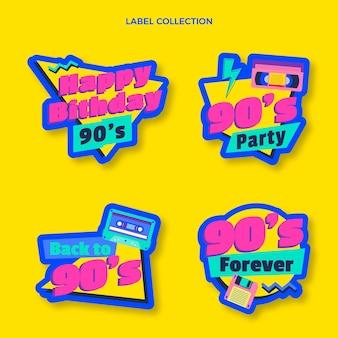 Étiquettes d'anniversaire nostalgiques au design plat des années 90