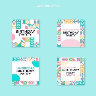 Étiquettes d'anniversaire plates en mosaïque
