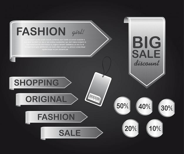 Étiquettes d'argent sur illustration vectorielle fond noir