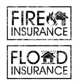 Étiquettes d'assurance sur l'illustration vectorielle fond blanc