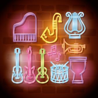 Étiquettes au néon d'instruments tropicaux