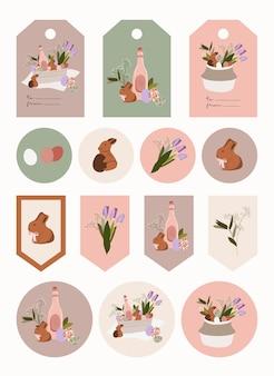 Étiquettes et autocollants de cadeaux de pâques.