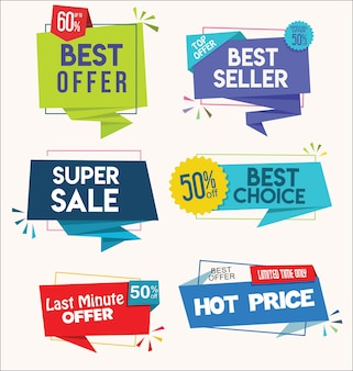 Étiquettes et autocollants colorés modernes de qualité supérieure et collection de best-sellers