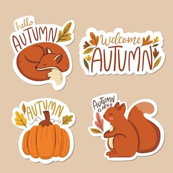 Étiquettes d'automne design plat