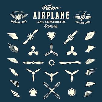 Étiquettes d'avion abstraites ou éléments de construction de logos.