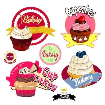 Étiquettes et badges de boulangerie vintage cupcakes