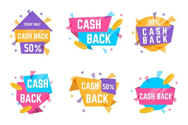 Étiquettes et badges cashback aux couleurs pastel