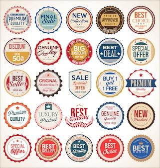 Étiquettes et badges colorés vintage rétro