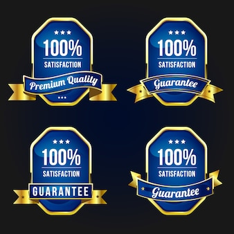 Étiquettes et badges dorés de qualité