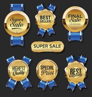 Étiquettes et badges dorés rétro vintage
