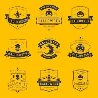 Étiquettes et badges halloween heureux conçoivent des modèles de typographie vintage