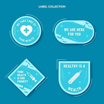 Étiquettes et badges médicaux design plat