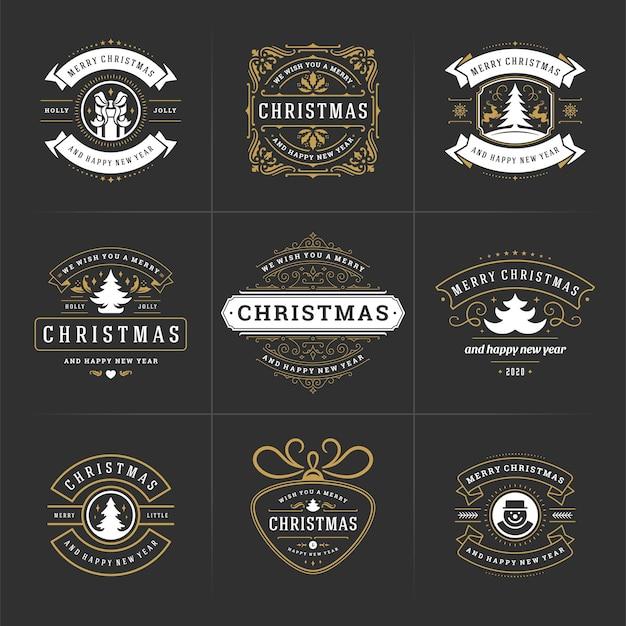 Les étiquettes et les badges ornés de vecteur de noël définissent la bonne année et les vacances d'hiver souhaitent la typographie