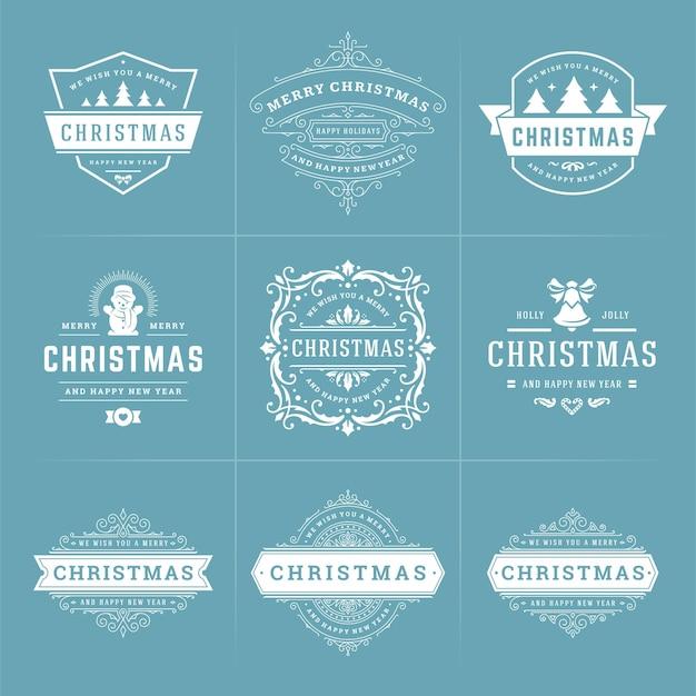 Étiquettes et badges ornés de vecteur de noël sertie de vacances de bonne année souhaite la typographie pour