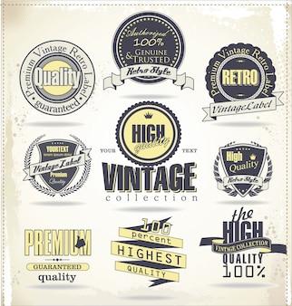 Étiquettes et badges vintage retro
