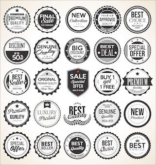 Étiquettes et badges vintage rétro
