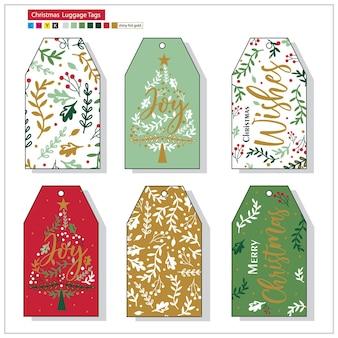 Étiquettes de bagage de noël d'illustration avec la couleur rouge et verte