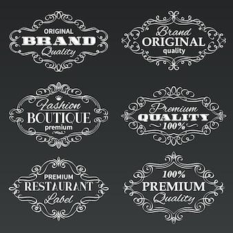 Étiquettes de bannières cadres vintage.